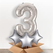 Silver Giant Number 3 Balloon in a Box Gift