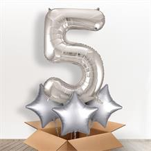 Silver Giant Number 5 Balloon in a Box Gift