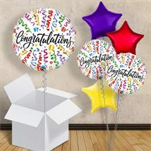 "Congratulations Multi-Coloured Streamers 18"" Balloon in a Box"