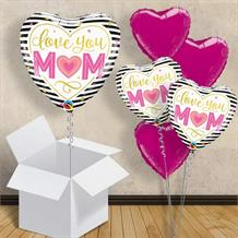 "Love You Mum Heart Stripes 18"" Balloon in a Box"