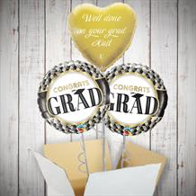 Personalisable Inflated Congrats Grad Graduation 3 Balloon Bouquet in a Box Gift