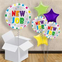 "New Job Colourful Stripes 18"" Balloon in a Box"