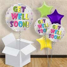 "Get Well Soon Stars 18"" Balloon in a Box"