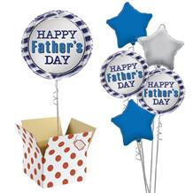 "Happy Father's Day Blue Stripes 18"" Balloon in a Box"