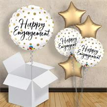 "Happy Engagement Gold Dot 18"" Balloon in a Box"