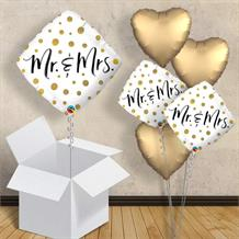 "Mr and Mrs Gold Dots | Wedding 18"" Balloon in a Box"