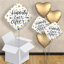 "Happily Ever After Gold Dots | Wedding 18"" Balloon in a Box"
