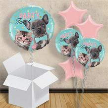 "Cat and Dog Party Time 18"" Balloon in a Box"