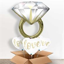 Diamond Wedding Ring Giant Shaped Balloon in a Box Gift