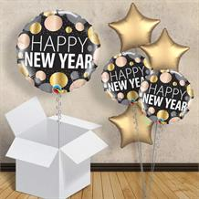 "Happy New Year Metallic Dots 18"" Balloon in a Box"