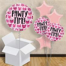 "Cat Pink Pawty Time 18"" Balloon in a Box"