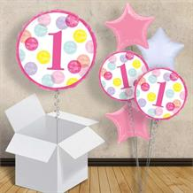 "Pink Dots 1st Birthday 18"" Balloon in a Box"