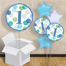 "Blue Dots 1st Birthday 18"" Balloon in a Box"