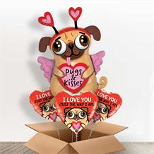 Pugs and Kisses | Puppy Giant Shaped Balloon in a Box Gift