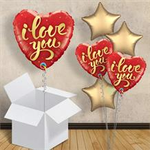 "I Love You Gold Script 18"" Balloon in a Box"