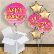 "Happy Birthday Pink and Gold 18"" Balloon in a Box"