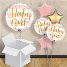 "Baby Girl Gold Dots 18"" Balloon in a Box"