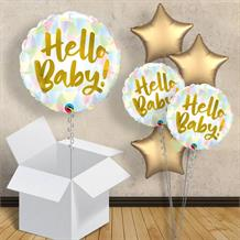 "Hello Baby Gold | Pastel 18"" Balloon in a Box"