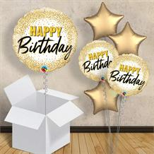 "Gold Glitter Dots Happy Birthday 18"" Balloon in a Box"