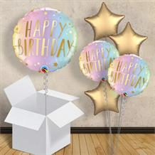 "Happy Birthday Pastel Stars 18"" Balloon in a Box"