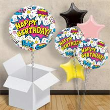 "Superhero Pow White Happy Birthday 18"" Balloon in a Box"