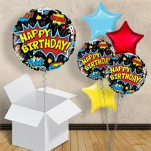 "Superhero Pow Black Happy Birthday 18"" Balloon in a Box"