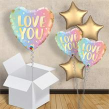"Love You Pastel Ombre Hearts 18"" Balloon in a Box"