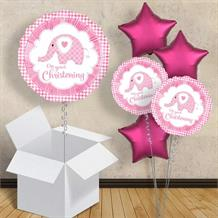"Pink Elephant Christening 18"" Balloon in a Box"