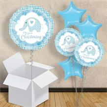 "Blue Elephant Christening 18"" Balloon in a Box"