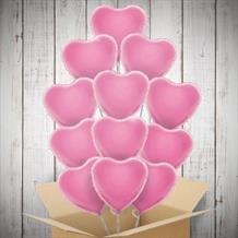 12 | One Dozen Baby Pink Hearts Inflated Foil Bunch of Balloons
