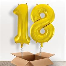 Gold Giant Numbers 18th Birthday Balloon in a Box Gift
