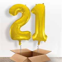 Gold Giant Numbers 21st Birthday Balloon in a Box Gift