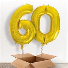 Gold Giant Numbers 60th Birthday Balloon in a Box Gift