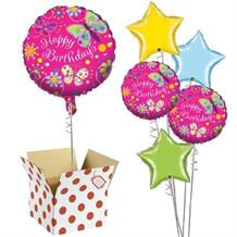 "Butterfly Sparkle Happy Birthday 18"" Balloon in a Box"