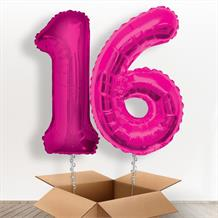 Pink Giant Numbers 16th Birthday Balloon in a Box Gift