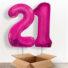 Pink Giant Numbers 21st Birthday Balloon in a Box Gift