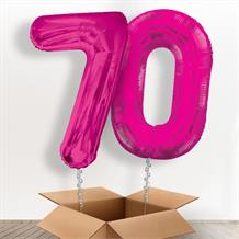 Pink Giant Numbers 70th Birthday Balloon in a Box Gift