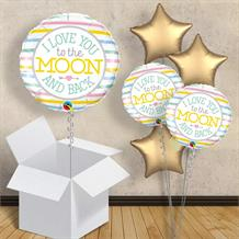 "I Love you to the Moon and Back | Baby Shower 18"" Balloon in a Box"