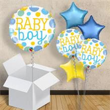 "Baby Boy Blue Dots | Baby Shower 18"" Balloon in a Box"