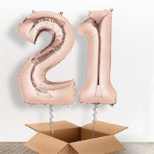 Rose Gold Giant Numbers 21st Birthday Balloon in a Box Gift