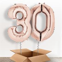 Rose Gold Giant Numbers 30th Birthday Balloon in a Box Gift
