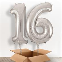 Silver Giant Numbers 16th Birthday Balloon in a Box Gift