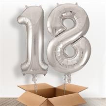 Silver Giant Numbers 18th Birthday Balloon in a Box Gift