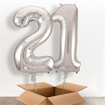 Silver Giant Numbers 21st Birthday Balloon in a Box Gift