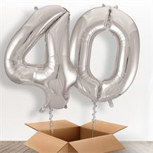 Silver Giant Numbers 40th Birthday Balloon in a Box Gift