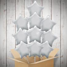 Silver Stars Inflated Foil Bunch of Balloons