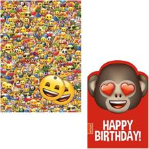 Emoji Giftwrap, Gift Tags and Monkey Heart Birthday Card