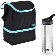 Polar Gear 2 Compartment Blue Optic Dot Packed Lunch Cooler Bag and Bottle Kit