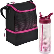 Polar Gear 2 Compartment Pink Optic Dot Packed Lunch Cooler Bag and Bottle Kit