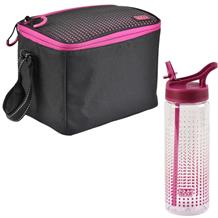 Polar Gear Active Pink Optic Dot Personal Lunch Cooler Bag and Bottle Kit